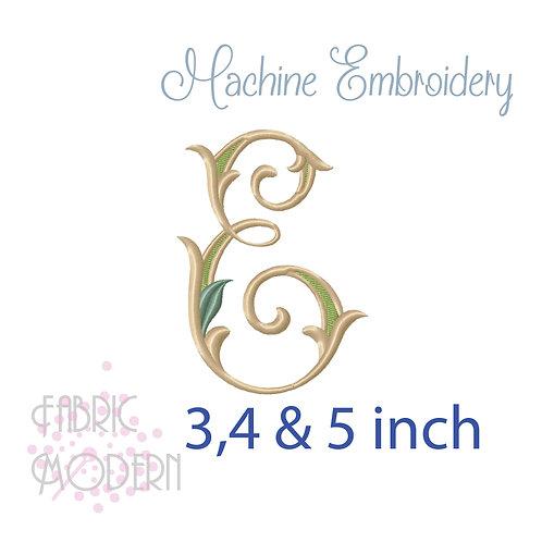 Fancy Letter E monogram three color #1128E