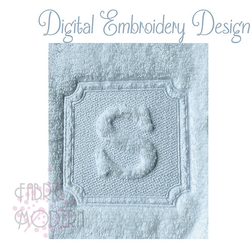 6 inch Embossed Hotel Style monogram set for towels  #1091-6