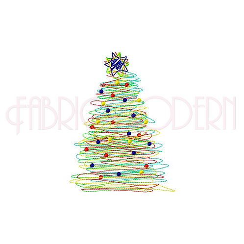 Christmas Tree Embroidery Design  Scribble Christmas tree design  #538
