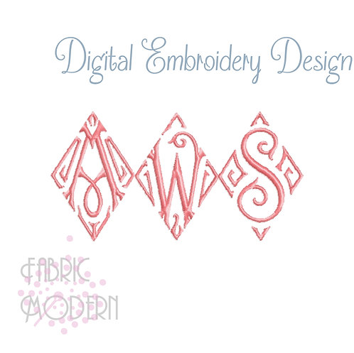 2 inch Vintage style Diamond Monogram font Embroidery Design  #1059-2