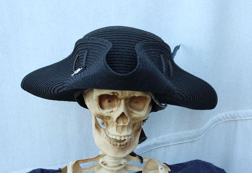 Black Woven Packable Tricorne Hat