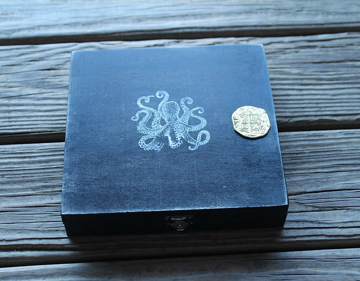 Black Wooden Storage Box
