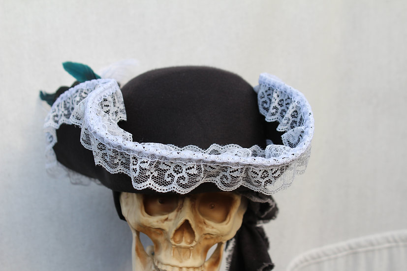 Ladies Black Bicorne with White Trim