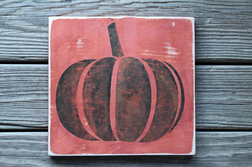 Pumpkin Wooden Plaque