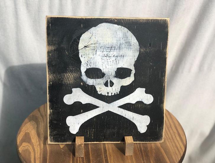 Skull N Bones on Wooden Plaque - XL