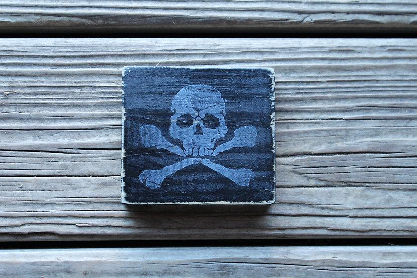 Skull N Bones Wooden Plaque - Small