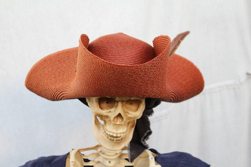 Brown Straw Tricorne Hat
