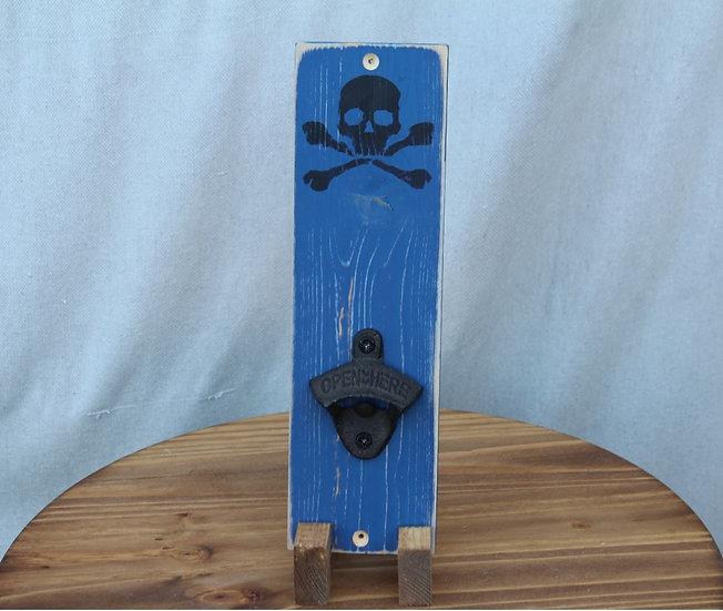 Bottle Opener - Skull  Bones on Blue