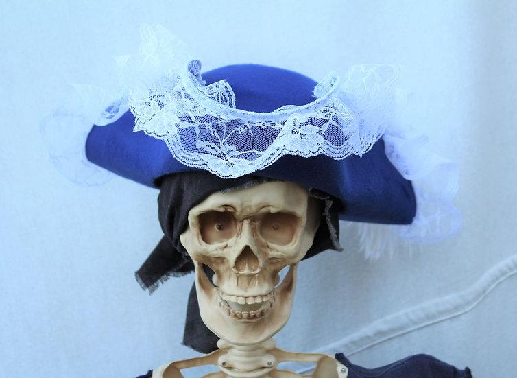 Ladies Blue Tricorne with White Trim