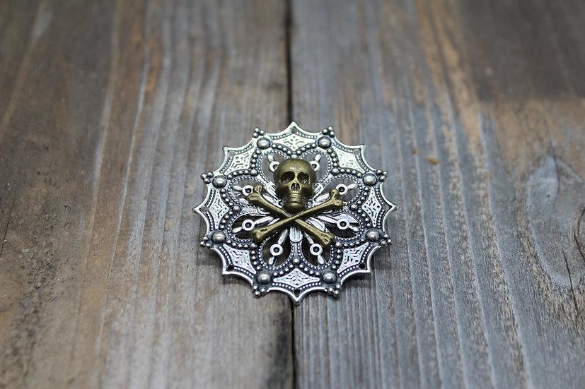 Bronze Skull N Bones Round Filigree Pin