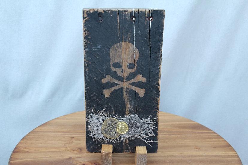 Skull N Bones W/ Treasure Wooden Plaque