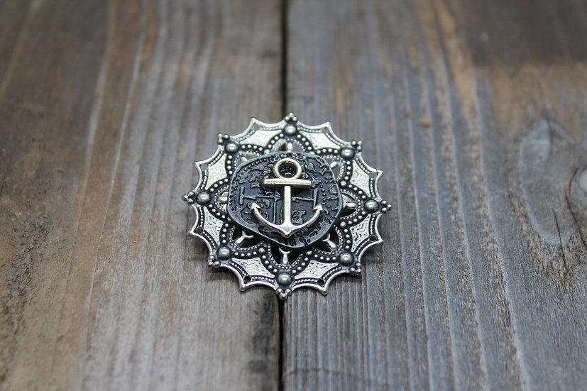 Anchor Round Filigree Coin Pin