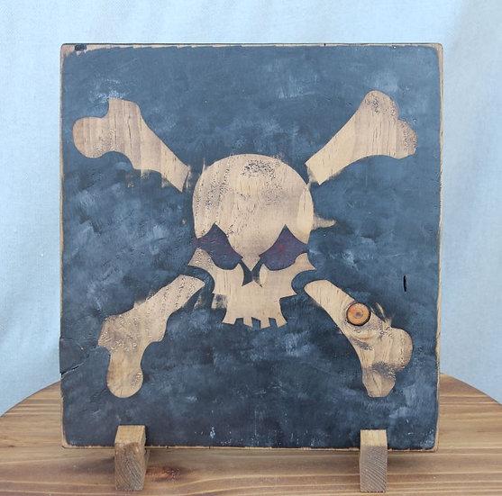 Modern Skull N Bones on  Wooden Plaque - XL