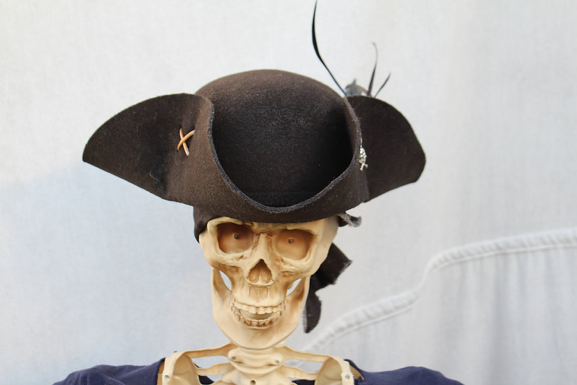 Black Tricorne with Tan Ties