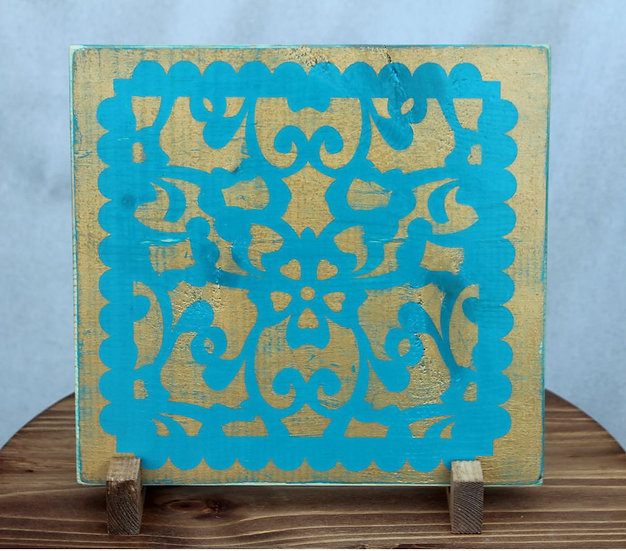 Filigree Blue on Gold - Wooden Plaque