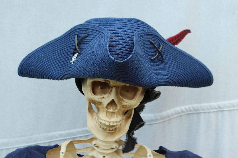 Blue Woven Packable Tricorne Hat
