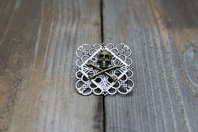 Brass Skull N Bones Square Filigree Pin