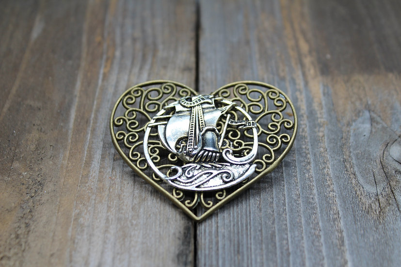 Large Ship on Heart Pin