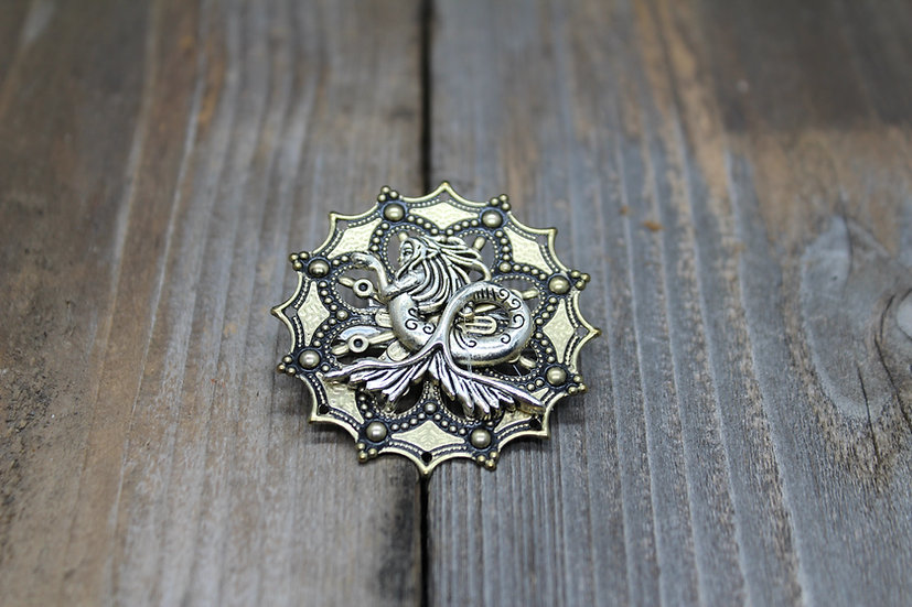 Large Mermaid Round Filigree Pin