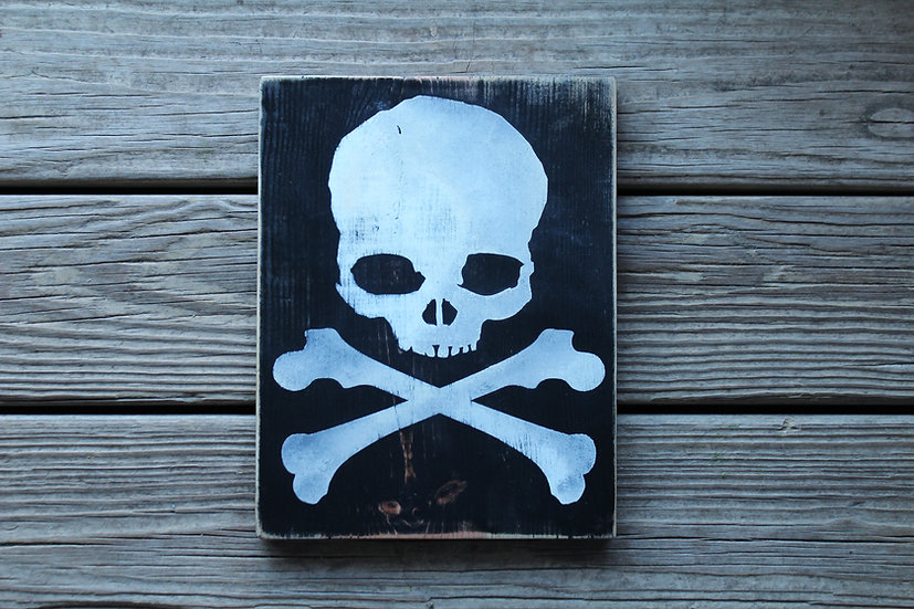 Skull N Bones Wooden Plaque - Large