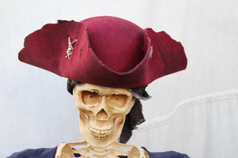 Battle Damaged Wine Tricorne Hat