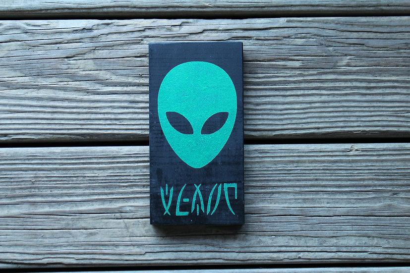 Green Alien Wooden Plaque