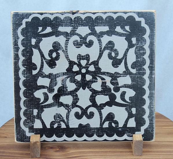 Filigree Black on Gray - Wooden Plaque