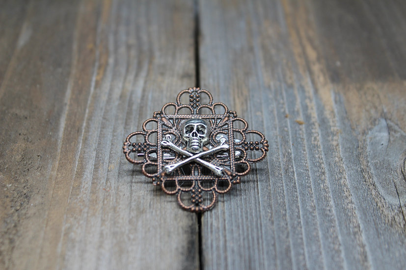 Skull N Bones Square Filigree Pin - Copper