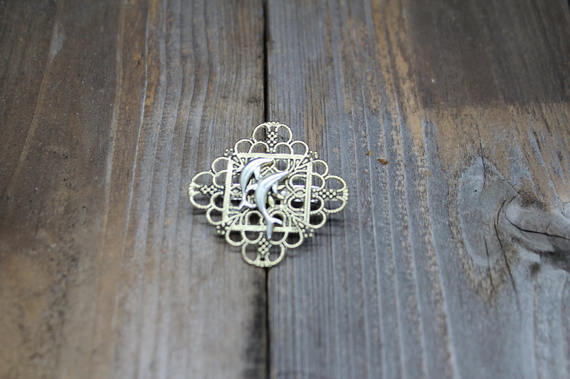 Dolphin Square Filigree Pin