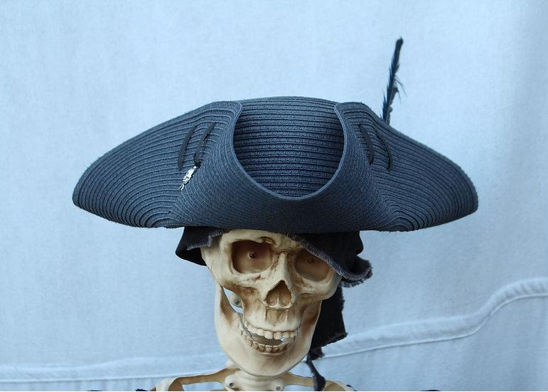 Grey Woven Tricorne Hat