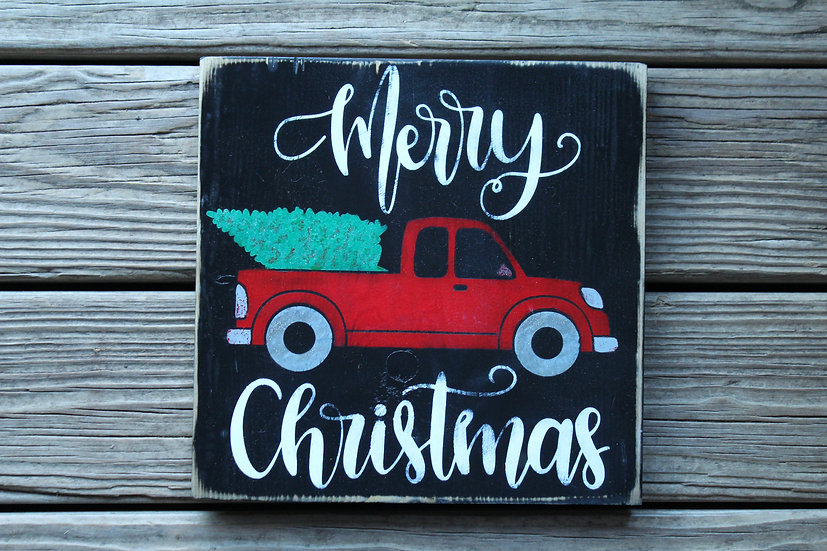 Merry Christmas Pickup Wooden Plaque