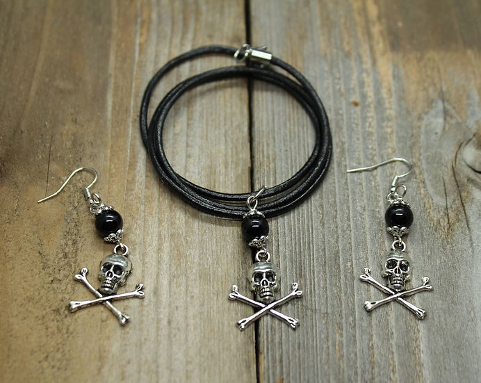 Black N Bones - Necklace and Ear Ring Set