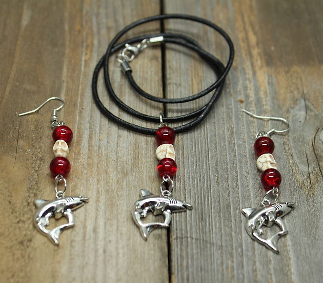Blood in the Water - Necklace and Ear Ring Set