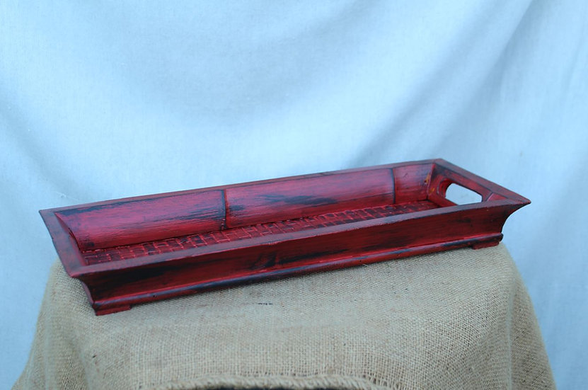 Red, Distressed Bamboo Tray