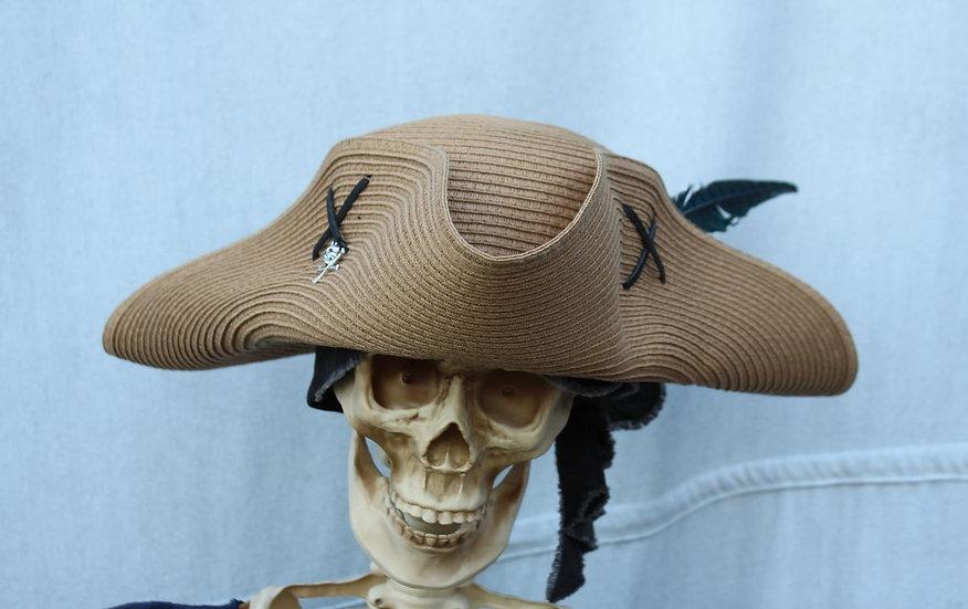 Tan Woven Packable Tricorne Hat