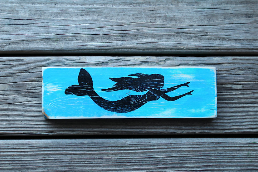 Swimming Mermaid Wooden Plaque