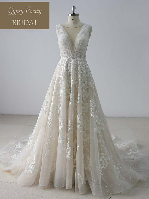 Backless V Neck Court Train Lace Wedding Dress
