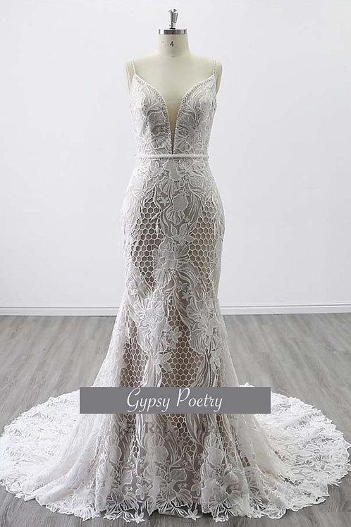 Heavy Lace, Geometric Pattern, Beaded Wedding Gown