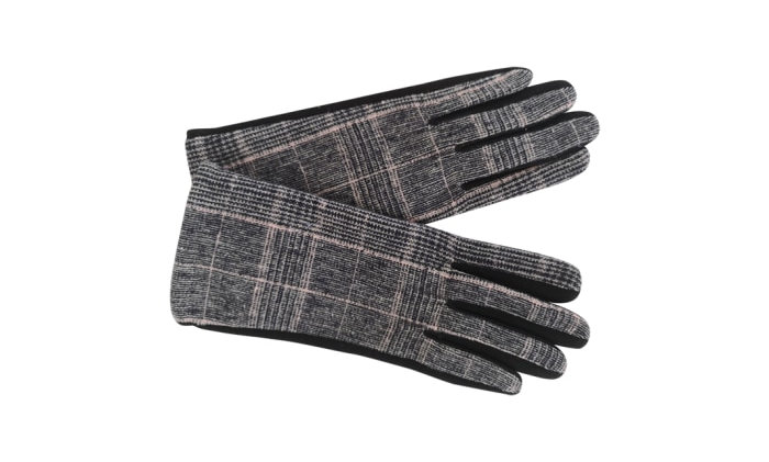 Black Colour Minny chequered Gloves