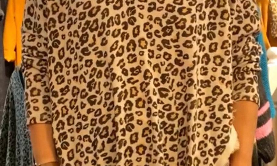 Miss Sugar Satin Trim Leopard Top