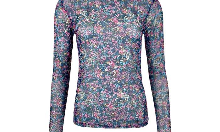 Black Colour mesh blouse Multi Flower
