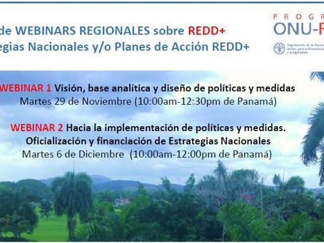 Webinars regionales sobre Estrategias Nacionales/Planes de Acción REDD+