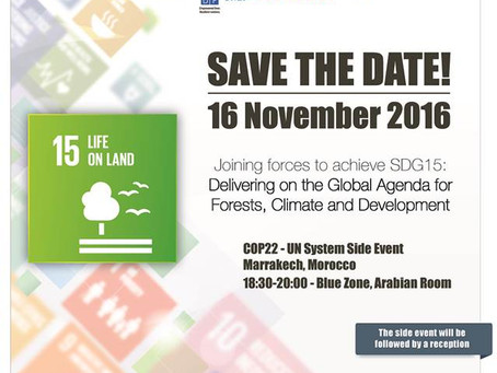 Save the Date: COP22 Side Event 'Joining forces to achieve SDG15: Delivering on the Global Agend