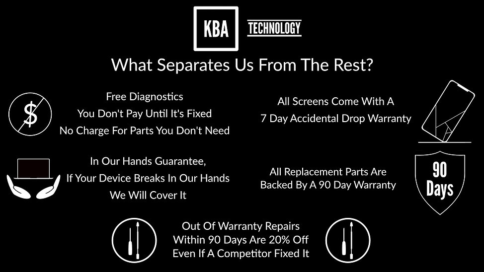 Free Diagnostics, You don't pay until it is fixed, No charge for parts you do not need. In our hands guarantee, if your device breaks in our hands w will cover it. All Screen come with a 7 day accidental Drop warranty. All replacement parts and labor are backed by a 90 day warranty. Out of warranty repairs within 90 days are 20% off even if a competitor fixed it.