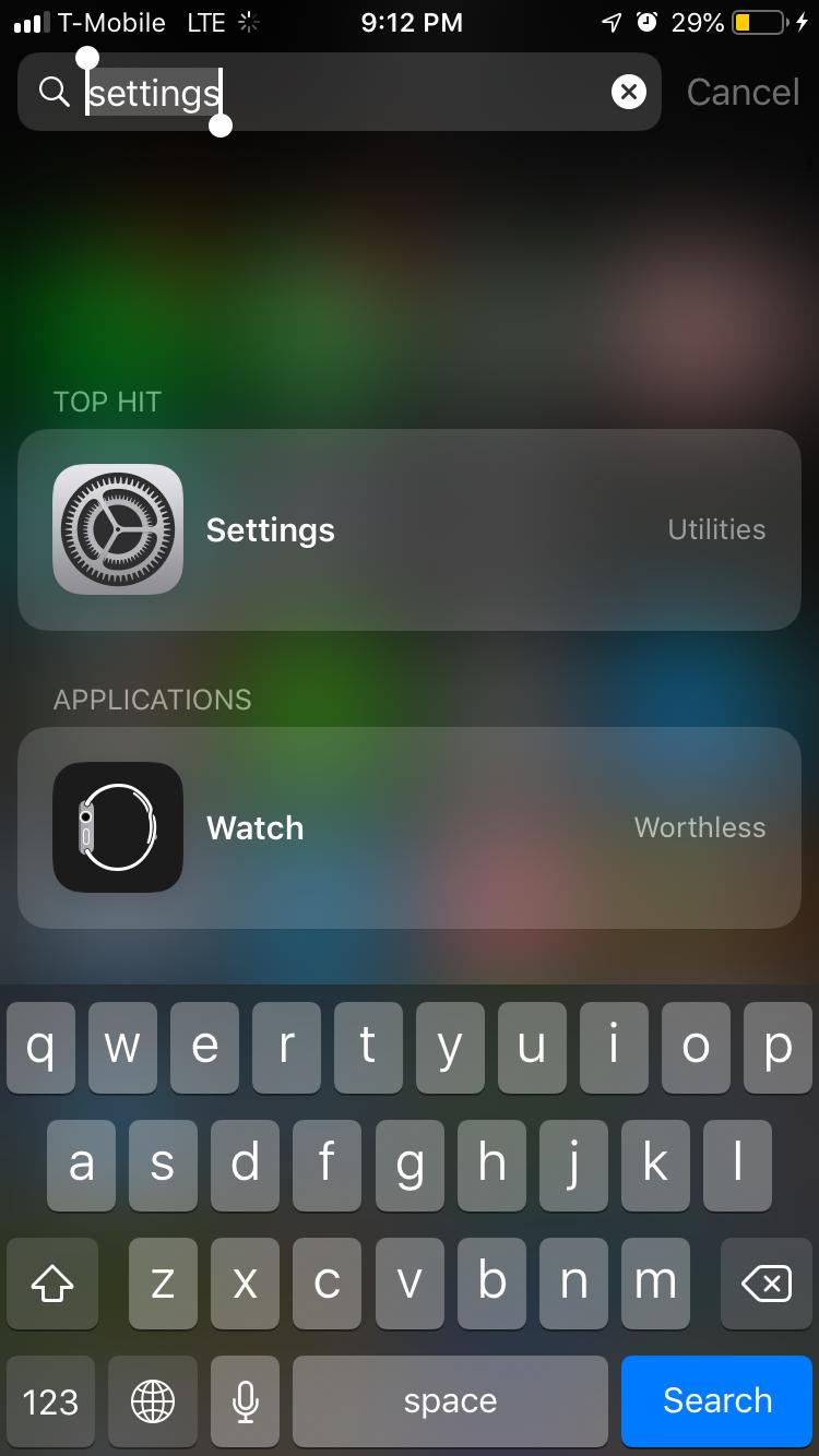 Settings screen on iPhone