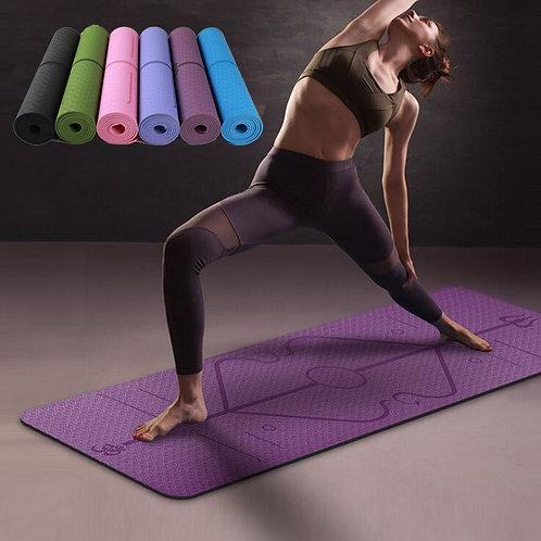 Thick Yoga Mat w/ Position Lines | Non-Slip TPE - 6mm