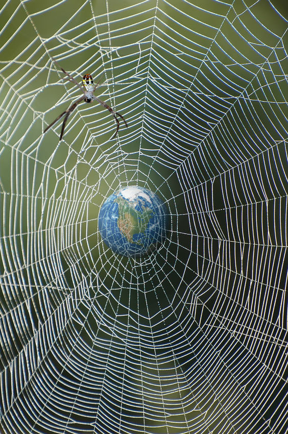 Earth caught in a tangled spider web is a composite image created for LikeTheDew.com