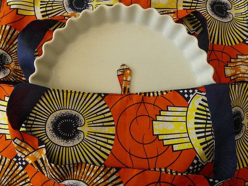 sac à tarte wax tissu africain coton pagne boubou orange