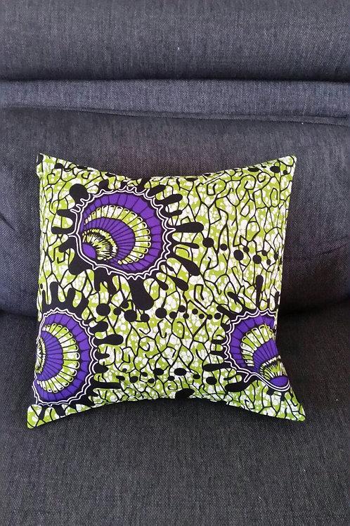 housse de coussin vert canapé salon tissu africain fait maison cadeau