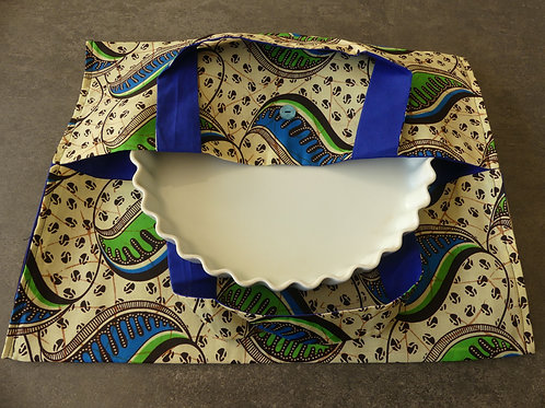 sac à tarte wax tissu africain coton pagne boubou crème et bleu vif